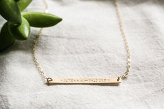 Gold Bar Necklace - Customized Name Plate