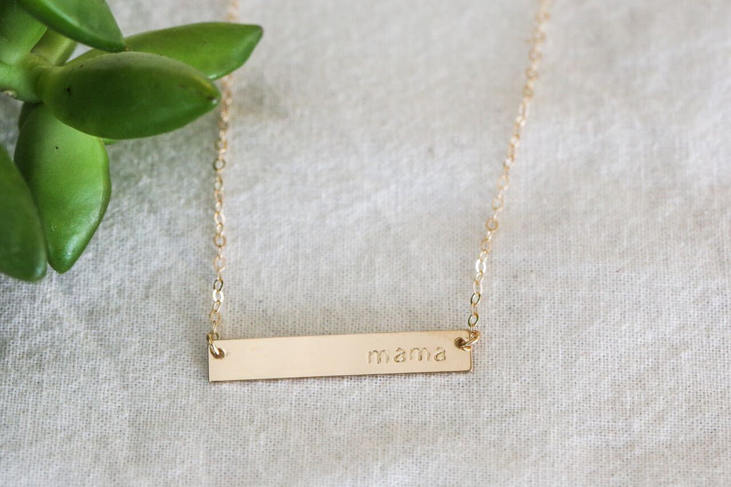 Gold Bar Necklace - Mama
