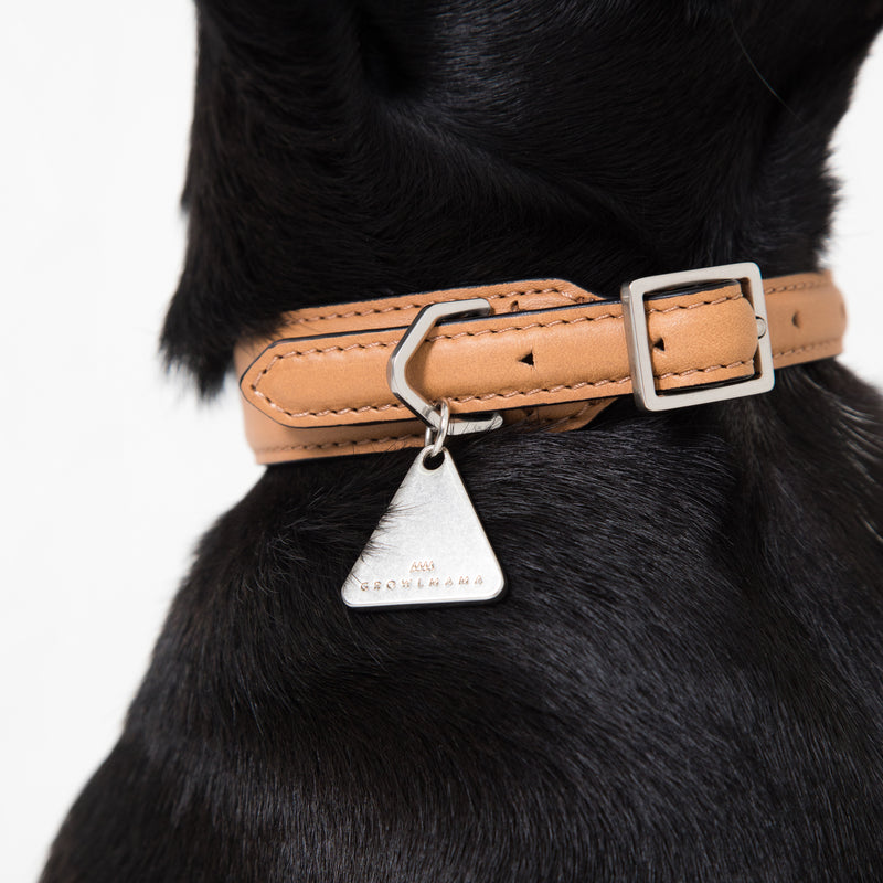 Growlmama London Dog Collar | Camel | Luxury dog collar | Leather