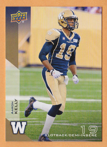 Aaron Kelly 2014 Upper Deck CFL card #95 Winnipeg Blue Bombers  Clemson Tigers