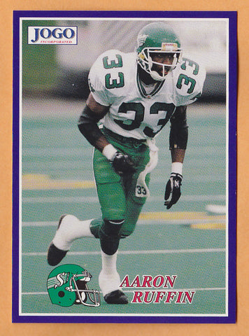 Aaron Ruffin CFL card 1995 Jogo #192 Saskatchewan Roughriders  Nicholls State Colonels