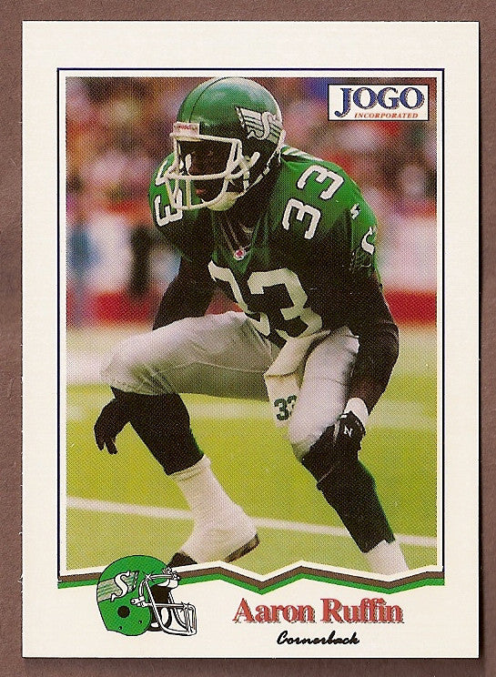 Aaron Ruffin CFL card 1994 Jogo #178 Saskatchewan Roughriders  Nicholls State Colonels