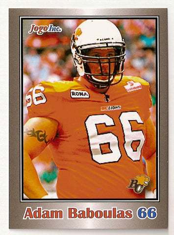 Adam Baboulas CFL card 2012 Jogo #19 BC Lions  Saint Mary's Huskies