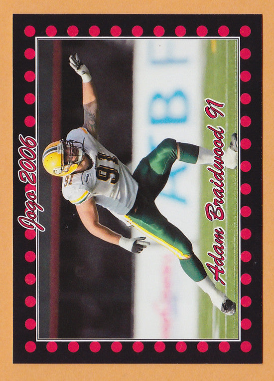 Adam Braidwood CFL card 2006 Jogo #105 Edmonton Eskimos  Washington State Cougars
