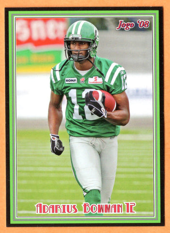 Adarius Bowman CFL card 2008 Jogo rookie shortprint #2R Saskatchewan Roughriders  Oklahoma State Cowboys
