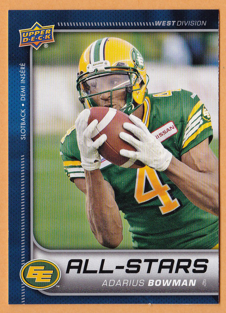 Adarius Bowman 2015 Upper Deck CFL All-Star card SP #155 Edmonton Eskimos  Oklahoma State Cowboys