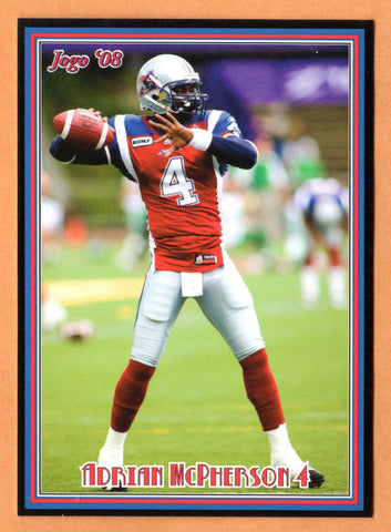 Adrian McPherson CFL card 2008 Jogo rookie shortprint #13R Montreal Alouettes  Florida State Seminoles