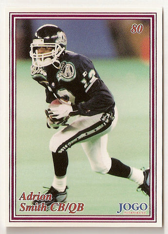 Adrion Smith CFL card 1999 Jogo #80 Toronto Argonauts  Southwest Missouri State Bears