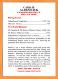 Al Benecick CFL card 2000 Jogo HOF series E #5E Saskatchewan Roughriders  Syracuse Orange  Hall of Fame