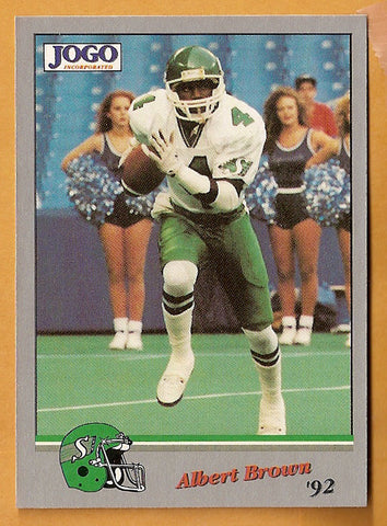 Albert Brown CFL card 1992 Jogo #154 Saskatchewan Roughriders  Western Illinois Leathernecks