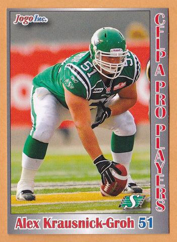 Alex Krausnick-Groh CFL card 2012 Jogo Pro Player #49 Saskatchewan Roughriders  Calgary Dinos