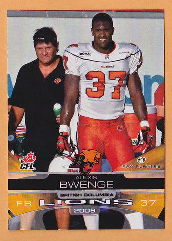 Alexis Bwenge CFL card 2009 Extreme #3 BC Lions  Kentucky Wildcats