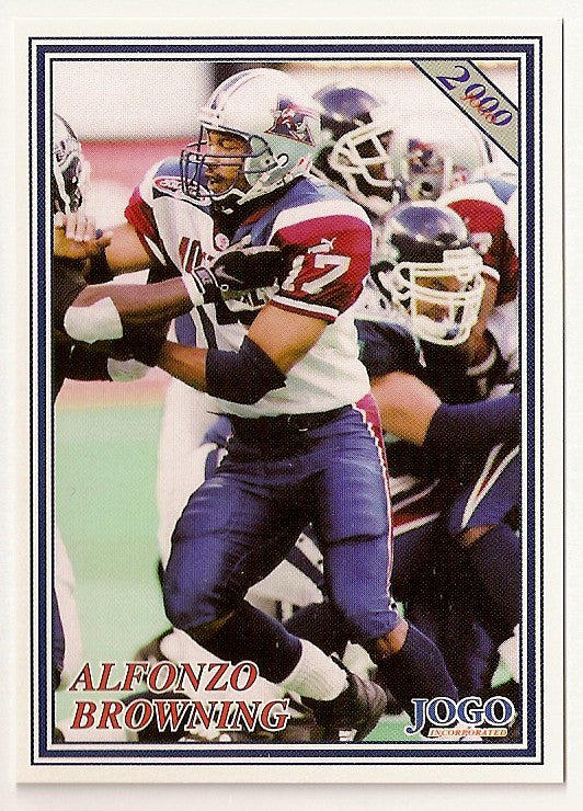 Alfonzo Browning CFL card 2000 Jogo #126 Montreal Alouettes  Kentucky Wildcats