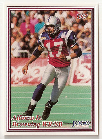 Alfonzo Browning CFL card 1999 Jogo #167 Montreal Alouettes  Kentucky Wildcats