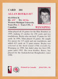 Allan Boyko CFL card 1996 Jogo #101 Winnipeg Blue Bombers  Western Michigan Broncos