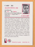 Allen Pitts CFL card 1995 Jogo #282 Calgary Stampeders  Cal State Fullerton Titans  Hall of Fame