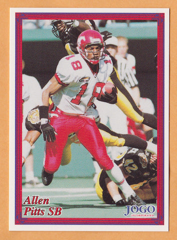 Alleh Pitts CFL card 1999 Boston Pizza Jogo #18 Calgary Stampeders  Cal State Fullerton Titans  Hall of Fame  99.3 The Fox