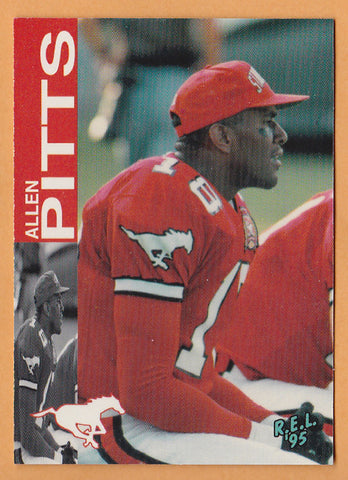 Allen Pitts CFL card 1995 REL #12 Calgary Stampeders  Cal State Fullerton Titans  Hall of Fame