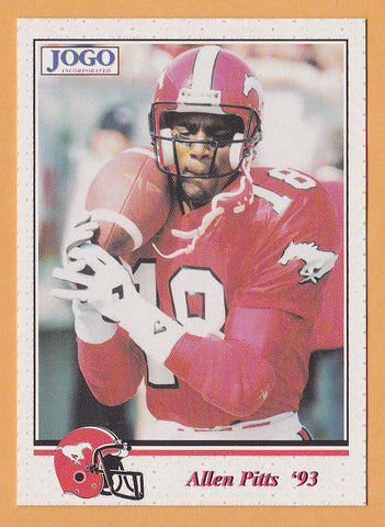 Allen Pitts CFL card 1993 Jogo #65 Calgary Stampeders  Cal State Fullerton Titans  Hall of Fame