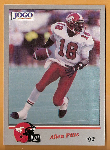 Allen Pitts CFL card 1992 Jogo #33 Calgary Stampeders  Cal State Fullerton Titans  Hall of Fame