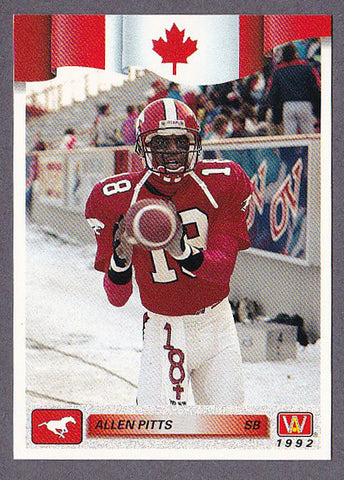 Allen Pitts CFL card 1992 All World #174 Calgary Stampeders  Cal State Fullerton Titans  Hall of Fame
