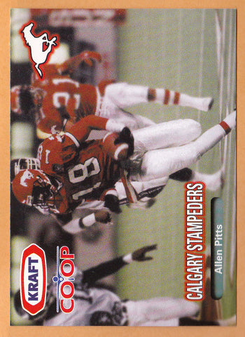 Allen Pitts CFL card 1999 Kraft Coop Calgary Stampeders  Cal State Fullerton Titans  Hall of Fame
