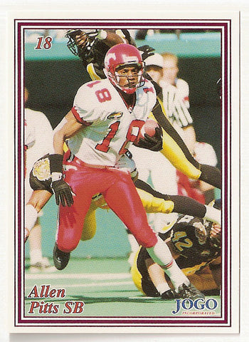 Allen Pitts CFL card 1999 Jogo #18 Calgary Stampeders  Cal State Fullerton Titans  Hall of Fame