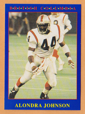 Alondra Johnson CFL card 1990 Jogo #188 BC Lions  West Texas A&M Buffaloes  Hall of Fame