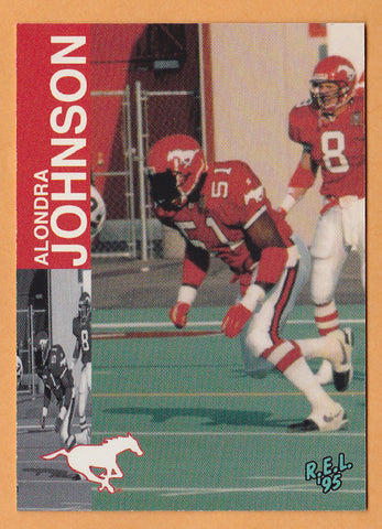 Alondra Johnson CFL card 1995 REL #5 Calgary Stampeders  West Texas A&M Buffaloes  Hall of Fame