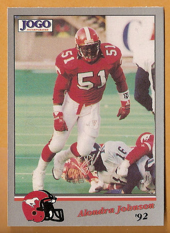 Alondra Johnson CFL card 1992 Jogo #42 Calgary Stampeders  West Texas A&M Buffaloes  Hall of Fame