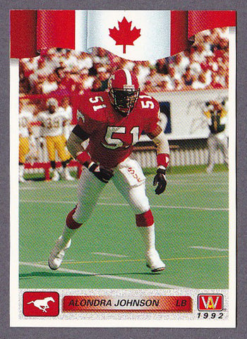 Alondra Johnson CFL card 1992 All World #160 Calgary Stampeders  West Texas A&M Buffaloes  Hall of Fame