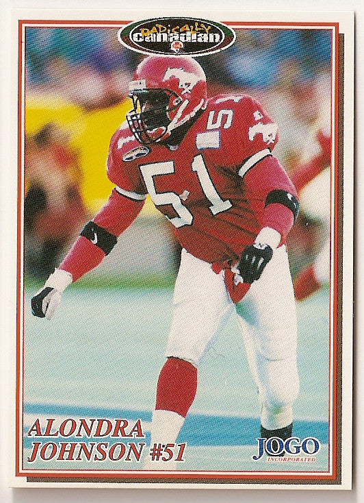 Alondra Johnson CFL card 1997 Jogo #209 Calgary Stampeders  West Texas A&M Buffaloes  Hall of Fame