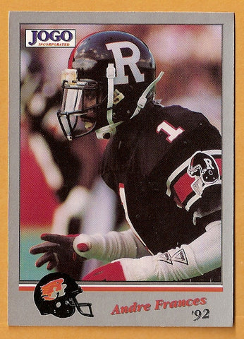 Andre Francis CFL card 1992 Jogo #63 Ottawa Rough Riders  New Mexico State Aggies