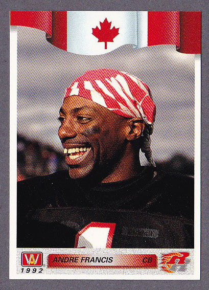 Andre Francis CFL card 1992 All World #157 Ottawa Rough Riders  New Mexico State Aggies