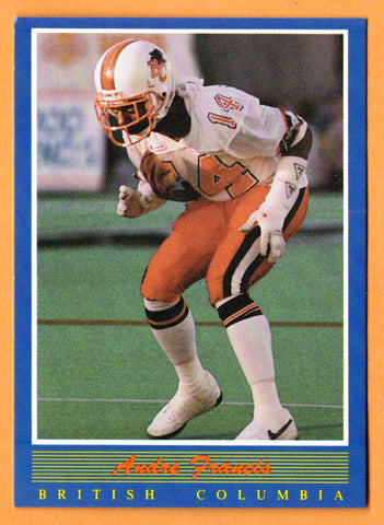 Andre Francis CFL card 1988 Jogo #96 B.C. Lions  New Mexico State Aggies