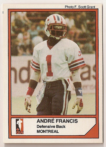 Andre Francis CFL card 1984 Jogo #53 Montreal Concordes  New Mexico State Aggies