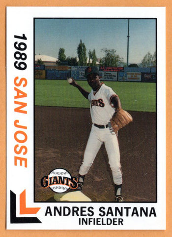 Andres Santana 1989 San Jose Giants Minor League Baseball  San Pedro de Macoris, Dominican Republic  |  San Francisco Giants