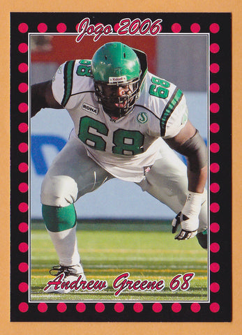 Andrew Greene CFL card 2006 Jogo #57 Saskatchewan Roughriders  Indiana Hoosiers