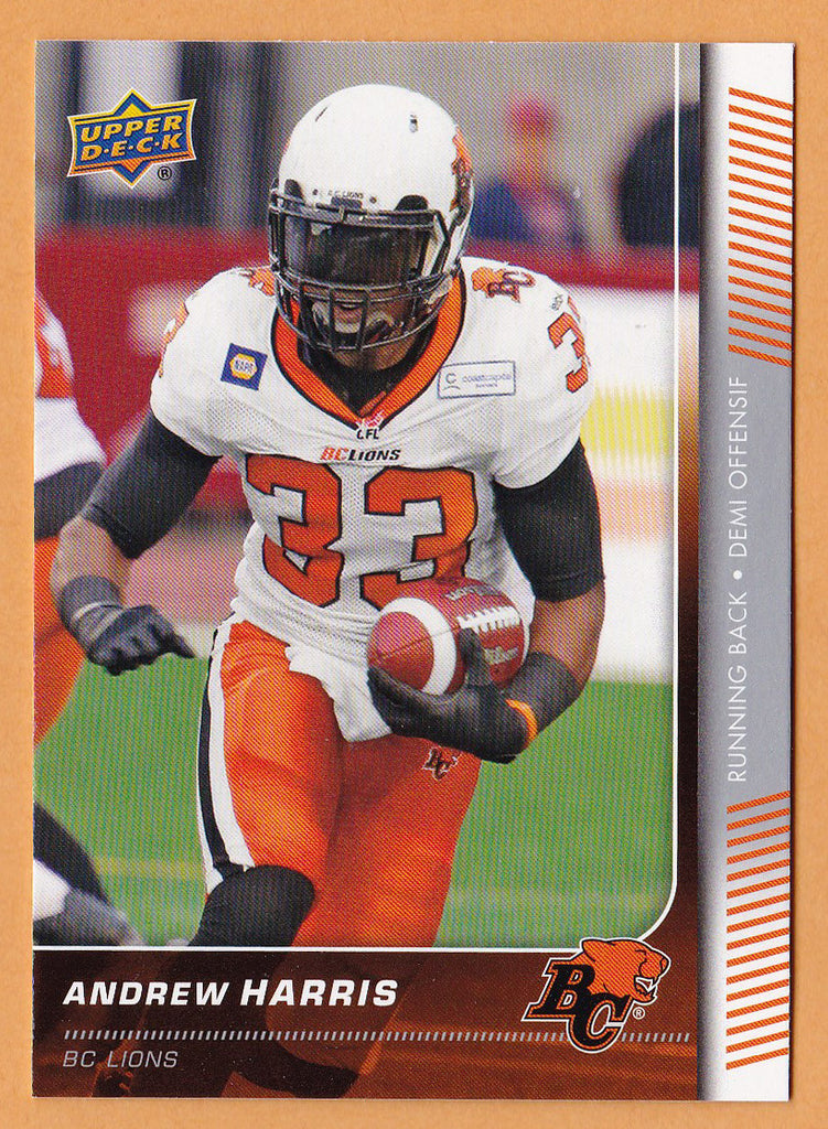 Andrew Harris 2015 Upper Deck CFL card #17 BC Lions  Vancouver Island Raiders