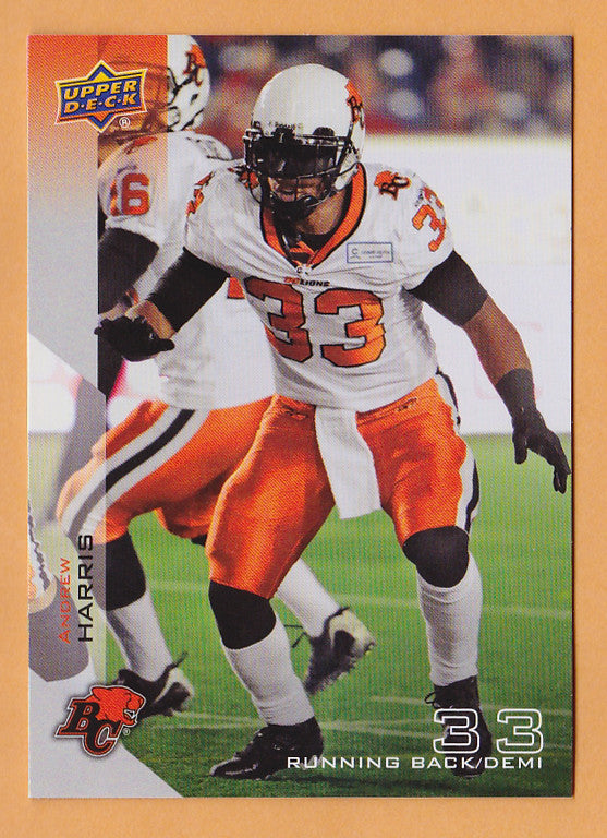 Andrew Harris 2014 Upper Deck CFL card #1 BC Lions  Vancouver Island Raiders