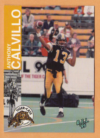 Anthony Calvillo CFL card 1995 REL #50 Hamilton Tiger-Cats  Utah State Aggies  Hall of Fame