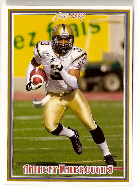 Anthony Malbrough CFL card 2007 Jogo #128 Winnipeg Blue Bombers  Texas Tech Red Raiders