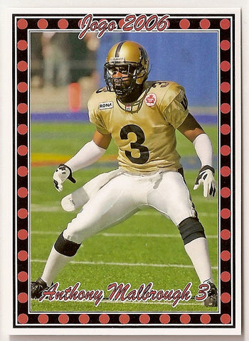 Anthony Malbrough CFL card 2006 Pro Player Jogo #107 Winnipeg Blue Bombers  Texas Tech Red Raiders