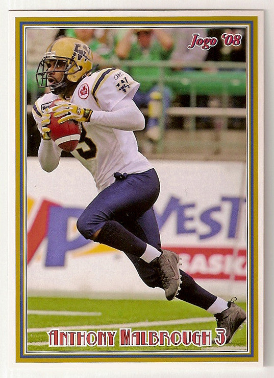 Anthony Malbrough CFL card 2008 Jogo #135 Winnipeg Blue Bombers  Texas Tech Red Raiders