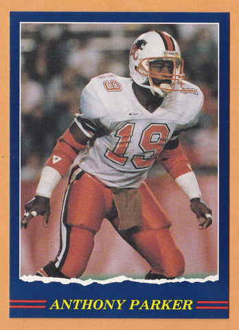 Anthony Parker CFL card 1989 Jogo #87 BC Lions  Memphis State Tigers