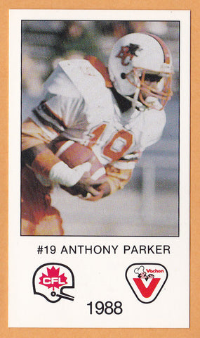 Anthony Parker CFL card 1988 Vachon BC Lions  Memphis State Tigers