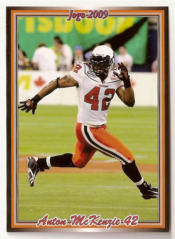 Anton McKenzie CFL card 2009 Jogo #112 BC Lions  Massachusetts UMass Minutemen