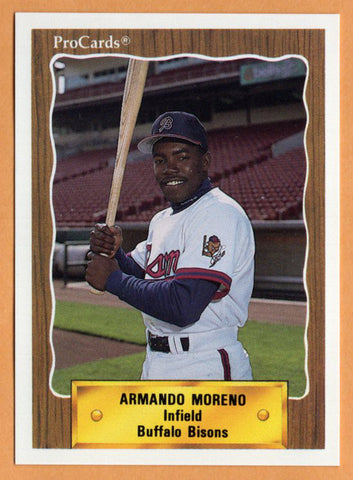 Armando Moreno 1990 Buffalo Bisons Minor League Baseball  Santurce, Puerto Rico