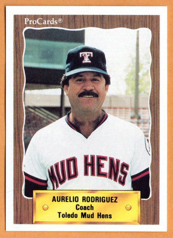 Aurelio Rodriguez 1990 Toledo Mud Hens Minor League Baseball  Cananea, Mexico  |  Chicago White Sox Baltimore Orioles California Angels Washington Senators San Diego Padres New York Yankees Detroit Tigers