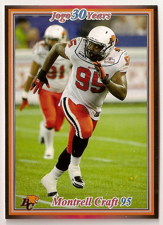 Montrell Craft CFL card 2010 Jogo #126 BC Lions  North Alabama Lions